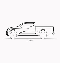 car silhouette side view of pickup vector image vector image