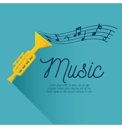 Card music trumpt note vector