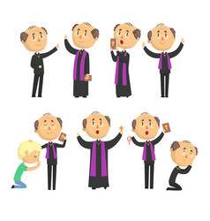 Cartoon catholic priest reading prayer blessing vector