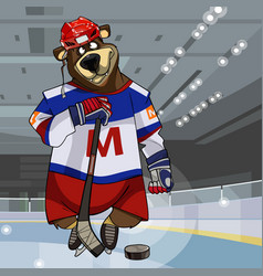 Cartoon character bear dressed in clothes hockey vector