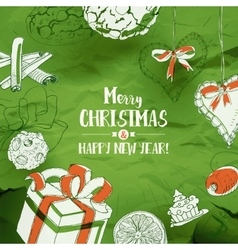 Christmas card with sketches on green vector