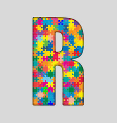Color puzzle piece jigsaw letter - r vector