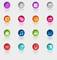 Colored set round web buttons icons element vector image vector image