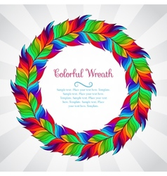 Colorful wreath of rainbow feathers vector image vector image