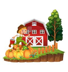 farmer working on pumpkin garden vector image vector image