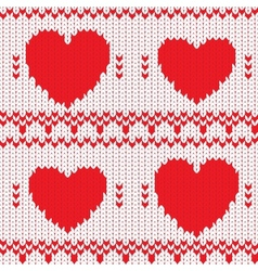 Knitted textile decorative valentine hearts vector image vector image