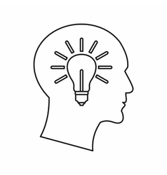 Light bulb inside a head icon outline style vector image vector image