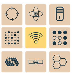 machine icons set collection of wireless vector image vector image