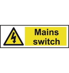 Mains Switch Safety Sign vector image vector image