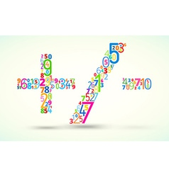 Math operands colored font from numbers vector