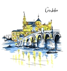 Mezquita and Roman bridge in Cordoba Spain vector image