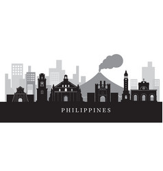 philippines landmarks skyline in black and white vector image