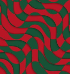 Retro 3d red green overlaying waves vector
