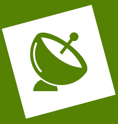 Satellite dish sign white icon obtained vector