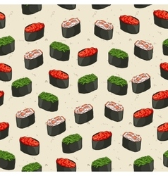 Seamless pattern of sushi vector