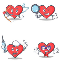 Set of heart character with cupid detective nurse vector