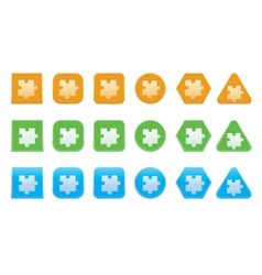 set of jigsaw puzzle part icons vector image