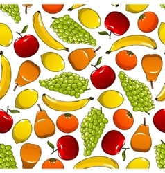 Tropical and garden fruits pattern vector
