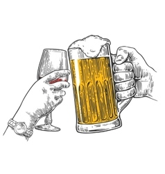Two hands clink a glass of beer and wine vector image