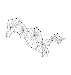Uzbekistan map of polygonal mosaic lines network vector