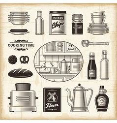 Vintage kitchen set vector