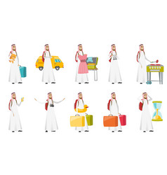 Young muslim traveler man set vector