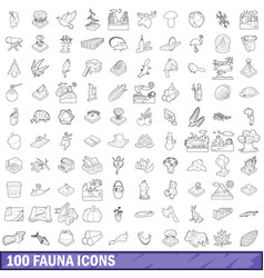 100 fauna icons set outline style vector