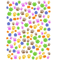 colorful seamless animals footprint vector image