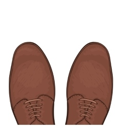 Feet in male shoes on the road vector
