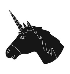 Unicorn icon in black style isolated on white vector