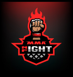 Night fight mixed martial arts sport logo vector