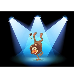 A dancing lion in the middle of the stage vector image