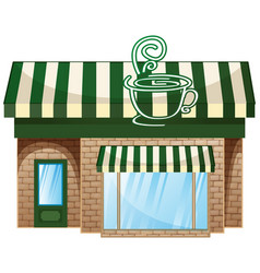 Coffee shop with green roof vector