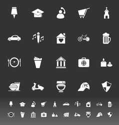 Map sign and symbol icons on gray background vector