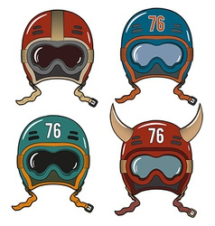 Racing helmets in old-school vector