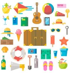 Flat design of summer beach items set vector