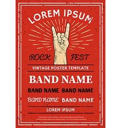Vintage Rock festival poster flyer vector image