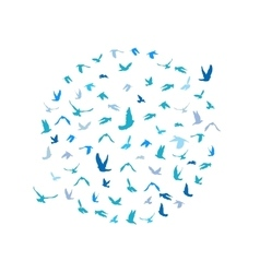 Doves and pigeons set in a circle for peace vector image
