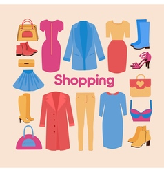 Shopping and beauty set in flat design accessories vector
