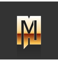 Gold letter m shape logo element vector