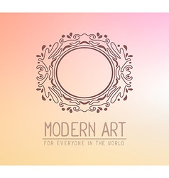 Brown color oval frame in modern style wi vector
