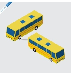 Isometric space - yellow bus vector