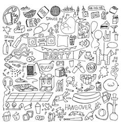Adult party doodle set vector