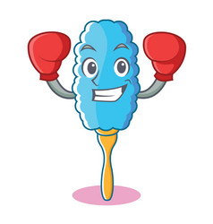 boxing feather duster character cartoon vector image