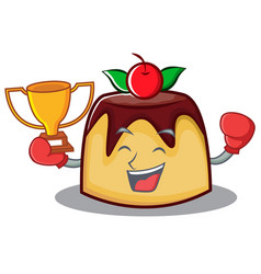boxing winner pudding character cartoon style vector image vector image