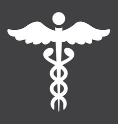 caduceus glyph icon medicine and healthcare vector image