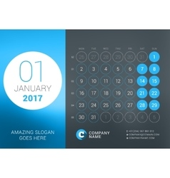 Calendar Template for January 2017 Design vector image