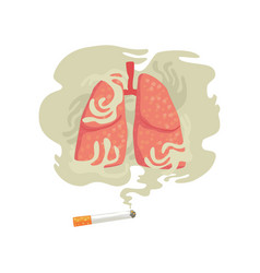 Cigarette smoke and lungs bad habit dangers of vector