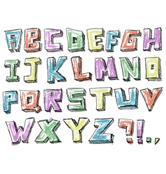 Colorful sketchy hand drawn alphabet vector image vector image