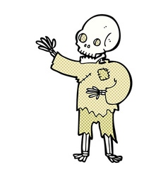 comic cartoon skeleton waving vector image